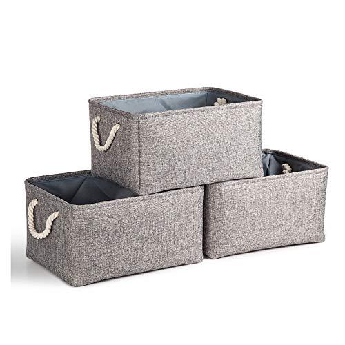 KEEGH Aufbewahrungsboxen Körbe Groß aus Leinen Stoff 3er-Pack,Faltbare Lagerplätze mit Baumwollseil Griffe zum von Büro, Schlafzimmer, Schrank, Spielzeug,Wäscheservice