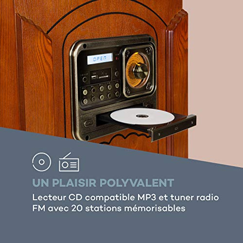 AUNA Musicbox Jukebox - Platine Vinyle, Lecteur CD, Radio FM, Port USB, Lecteur de Cartes SD, Bluetooth, Compatible MP3, Rangement vinyles, Plaquage Bois Brun