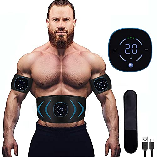 EMS Electroestimulador Muscular Abdominales, 10 Modos, 20 Niveles Diferentes para, Electroestimulacion Estimulación ABS Trainer para Abdomen/Brazo/Piernas/Cintur