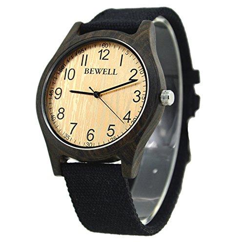 Bewell Unisex cinturino in pelle nera di sandalo, orologio casual, quadrante grande, quadrante rotondo, orologio da polso in legno