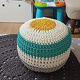 XER Marroquí Grande Puffe Pouffe Footstool Chunky Hand Pouf Pouf Pie Taburete Taburete de Estar Moderno Asiento de cojín por Confort Colecciones,Azul