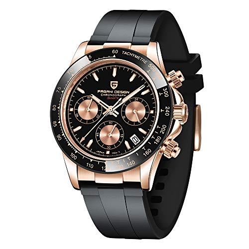 Pagani Design Relojes de Cuarzo para Hombre de Silicona cronógrafo Impermeable 100 m Hombres Reloj Deportivo Hombres Moda Regalo Negocios Casual Hombres Relojes de Pulsera