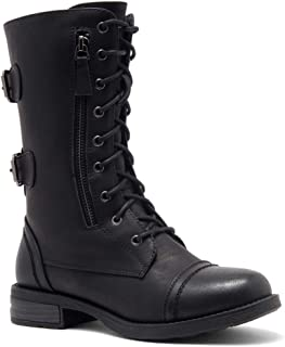 Kasey Women's Ankle Lace Up Military Combat Booties Mid Calf Credit Card Money Wallet Pocket Boots