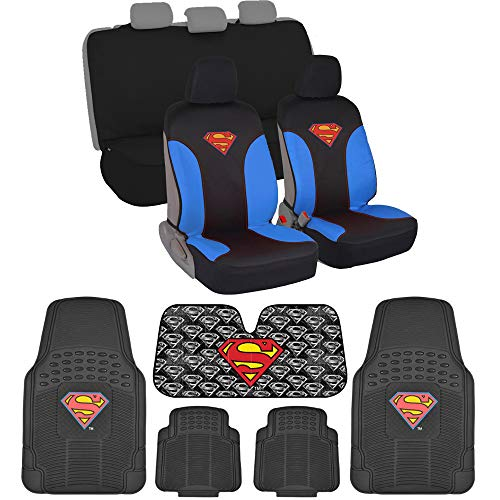 Superman Car Accessory Gift Pack Bundle - Front and Rear Waterproof Seat Covers with Rubber Car Floor Mats and Auto Sunshade (Superman)