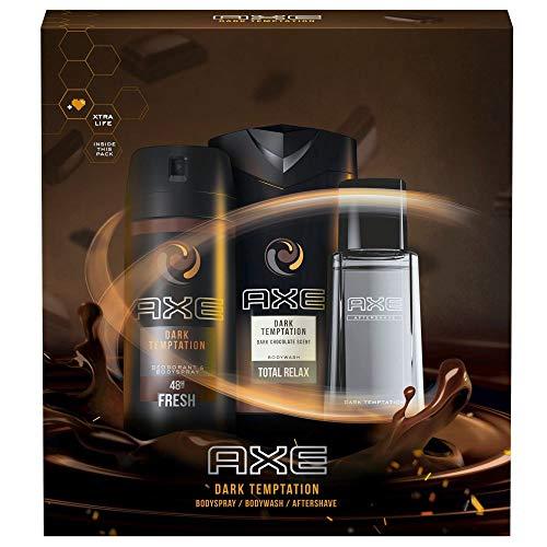 Axe Geschenkset Dark Temptation für einen verführerischen Duft mit Deospray, Duschgel und Aftershave (150 ml + 250 ml + 100 ml)