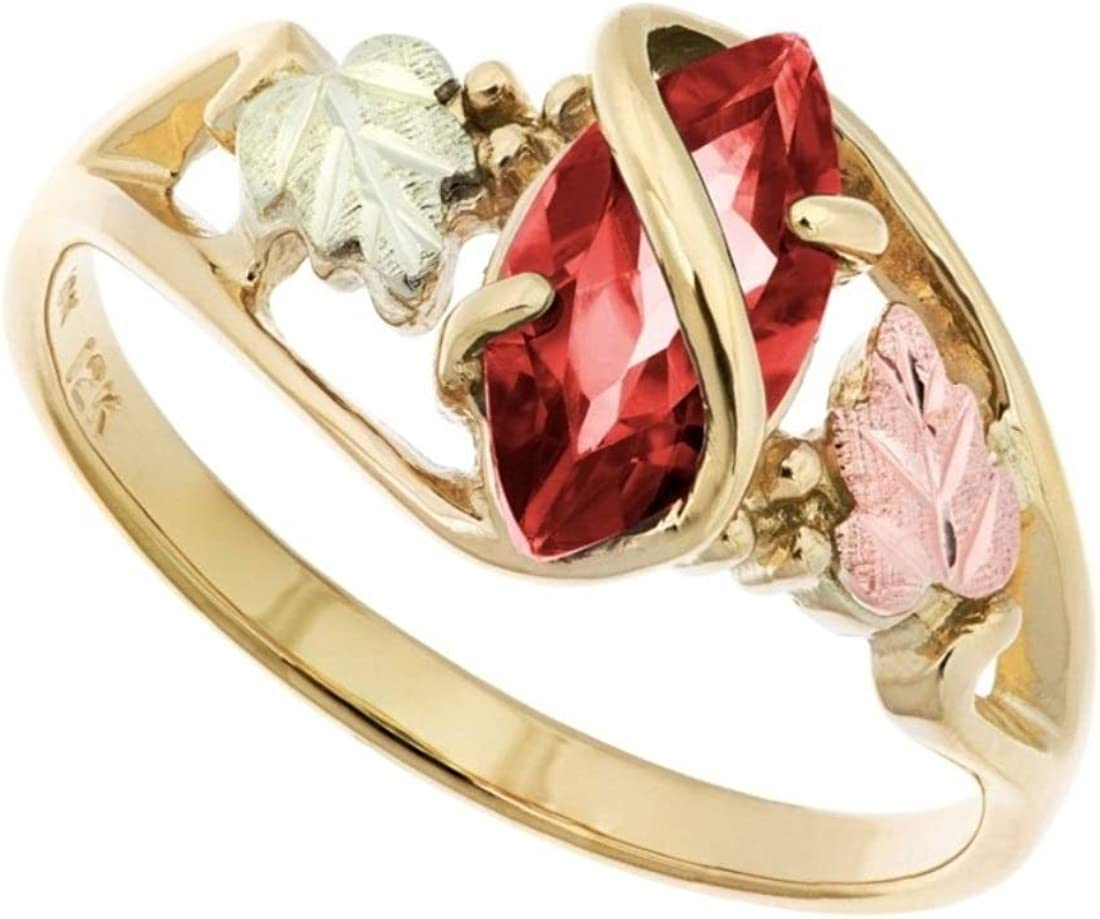 Marquise Garnet Wrap Ring, 10k Yellow Gold, 12k Green and Rose Gold Black Hills Gold