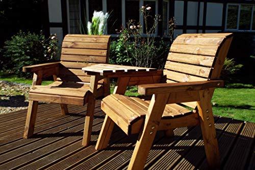 Home Gift Garden Twin Companion Garden Seat - Love Seat Bench - Tete a Tete Seats - Outdoor Patio Solid Wood Garden Furniture