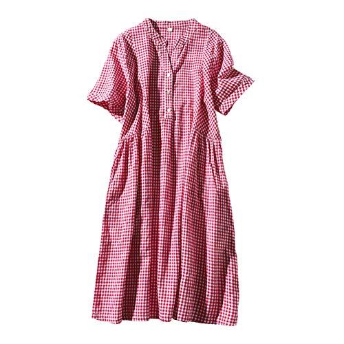 BINGQZ Cocktail Jurken 2019 vroege zomer nieuwe vrouwen half-open kleine V-hals met korte mouwen geruite jurk vrouwelijke lange sectie