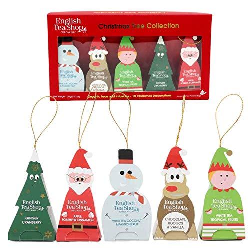 English Tea Shop Organic Teas and Infusions Christmas Tree Tea Collection - 10 Christmas Ornament Pyramids 20g