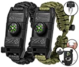 PSK Paracord Bracelet 8-in-1 Personal Survival Kit Urban & Outdoors Survival Knife, Fire Starter, Glass Breaker, Survival Whistle, Signal Mirror, Fishing Hook & String, Compass (Black / Green)