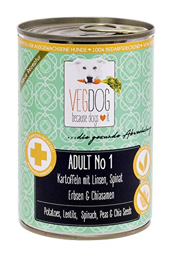 VEGDOG Vegetarisches Hunde Alleinfutter Adult No 1, 6er Pack (6 x 400 g)