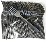 100 Black Plastic Forks Plastic Cutlery Set Heavy Duty Forks Reusable Disposable for Outdoor Events, Party, Catering - Supplied in Manufacture Sealed Packaging
