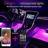 TABEN Luz Ambiental App Control + Control Remoto RGB Lámpara de luz Ambiental del Coche Suave DIY Reajuste 4m Banda de Fibra óptica 64 Colores Iluminación Interior Luz Decorativa 1W DC 12V