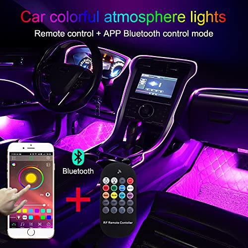 TABEN Ambient Light APP Control + RGB Remote Controller Car Atmosphere Light Lamp Soft DIY Refit 8m Optic Fiber Band 64 Colors Interior Footwell Lighting Decorative Light 1W DC 12V