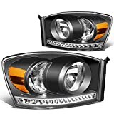 Pair Black Housing Amber Side LED Strip DRL Headlight Lamps Replacement for Dodge Ram 1500 2500 3500 06-09