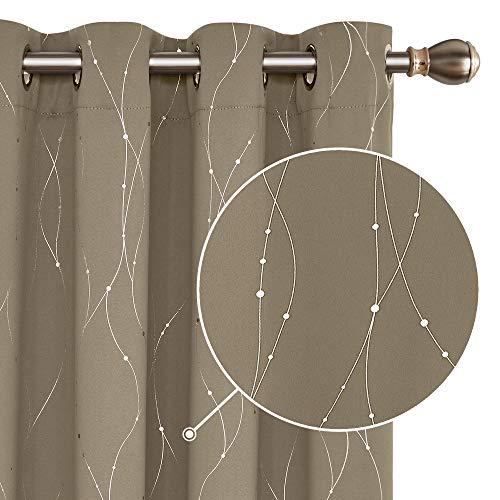 Deconovo Lot de 2 Rideau Thermique Isolant Anti Froid Oeillets Occultant Décorative Rideaux Chambre Adulte Motif Argenté 140×240 cm Taupe