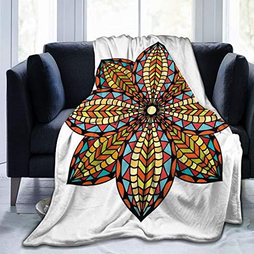 Manta mullida, diseño floral, diseño geométrico colorido de pétalos curvados, diseño elíptico étnico tradicional, ultra suave, manta para bebé, cama, cama, TV, manta de 80 x 60 pulgadas