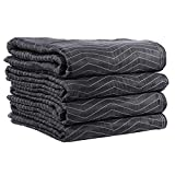 Supreme Mover Moving Blankets | 72 inch x 80 inch Heavy Duty Black and White Moving Pads| 7.5 pounds each (90 pounds per dozen) | 4 Blankets