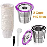 Reusable K Cups, 2 Pack Stainless Steel K Cup Reusable Coffee Pods with 50 Paper Coffee Filters-Universal Fit Refillable K Cups for Keurig 1.0 and 2.0 Coffee Maker