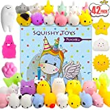 POKONBOY 42 Pcs Mini Mochi Squishies Toys, Mochi Squishy Toy Stress Reliever Toys Party Favors for Kids Boys Girls