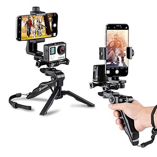 Zeadio - Treppiede per selfie, impugnatura ergonomica e stabilizzatore palmare, kit Steadycam per GoPro e iPhone, Samsung e telefoni, 2 angoli di ripresa simultaneamente