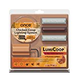 LumiCoop Chicken Coop Lighting System Red Light Wavelength Promotes Poultry Welfare Increases Egg Production Controlled by Mobile Device Simulating Natural Sunrise and Sunset
