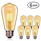 Edison Vintage Glühbirne, CMYK Edison LED Lampe E27 4W Warmweiß Antike Leuchtmitteln Retro Glühlampe Dekorative Glühbirne Ideal für Nostalgie und Retro Beleuchtung im Haus Café Bar usw - 6 Stück