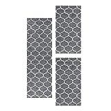Carpetsale24 Juego de alfombras Juego de alfombras de diseño Jacquard 3 Partes Gris, Color:Gris, Tamaño:2 x 60x110 + 1 x 80x150