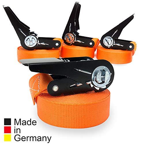 4er Set KFI Cargo Control qualitätsgeprüfte Spanngurte mit Ratsche | Länge: 6 m | Ratschengurt einteilig nach EN 12195-2 | Zurrgurte 400/800 kg