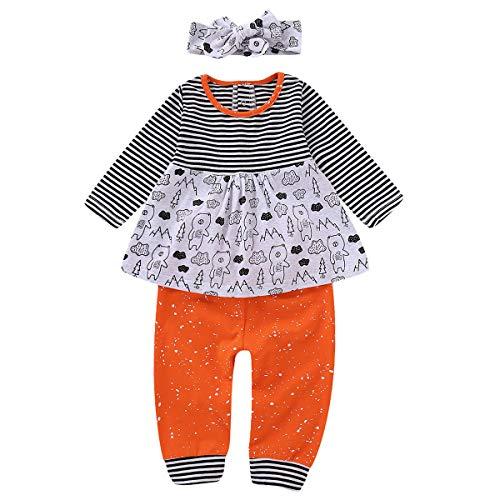 Borlai Niedliche Ausstattungen des Säuglingsbabys 3pcs tragen Druckhemdoberseitenhosen-Stirnband-Trainingsanzugsatz