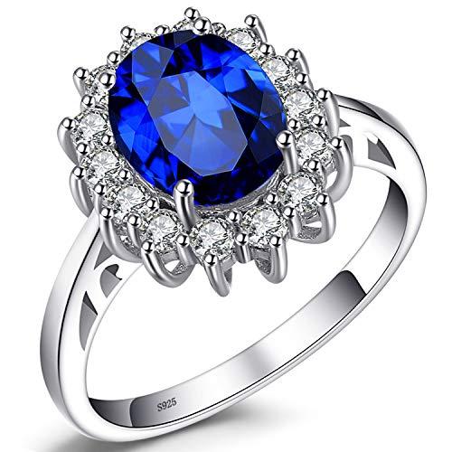 JewelryPalace 2.8ct Prinzessin Blau Synthetisch Saphir Verlobung Trauung Damen Geschenk Ringe Silberring Massivem 925 Sterling Silber