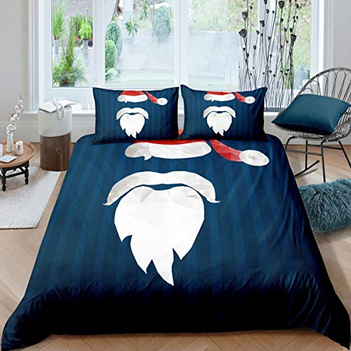 White Bread Red Hat Bedding Cover for Kids Christmas Collections Duvet Sets King Deep Blue Line Dyeing 3 Pieces Comforter Sets(1 Duvet Cover 2 Pillow Cases)