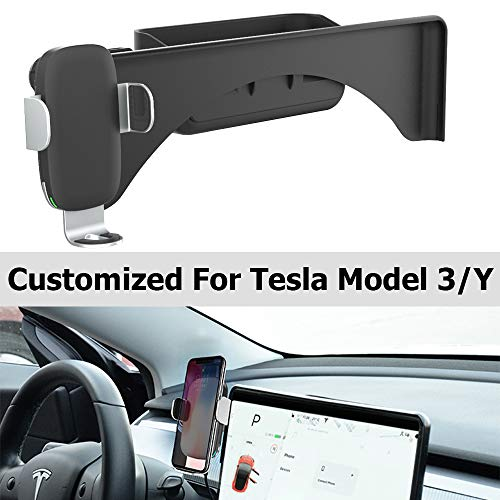Model 3 Model Y Wireless Charger Phone Holder with Silicone Sunglasses Organizer for Tesla Accessories