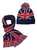 British Flag Ribbed Knit Beanie Hat & Scarf Unisex Matching Set