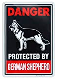 Beware of Dog Sign Dig Will Bite,German Shepherd Beware of Dog Signs Reflective 10x14 inch Large Rust Free 30 mil Aluminum,UV Printed Weather Resistant Ink,Easy to Mount for Yard and Fence