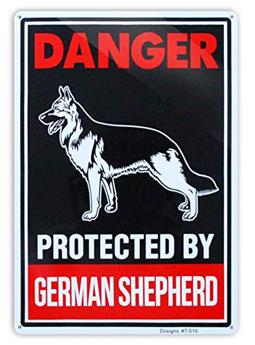 Beware of German Shepherd Sign,Large Beware of Dog Sign Reflective 10x14 inch Rust Free 30 mil Thick Aluminum,UV Printed Weather Resistant Ink,Easy to Mount for Fence (1-Pack)