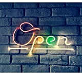 """Britrio LED Open Neon Sign Light, 17""""x8"""" Open Neon Sign Wall Art Hanging Decor Window Sign for Business Pub Beer Bar StoresBarber Shops USB Powered"""