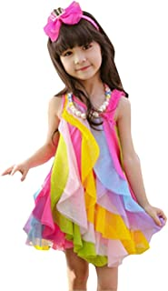 Hopscotch Girls Polyester Ruffle Sleeveless Party Dress in Multi Color