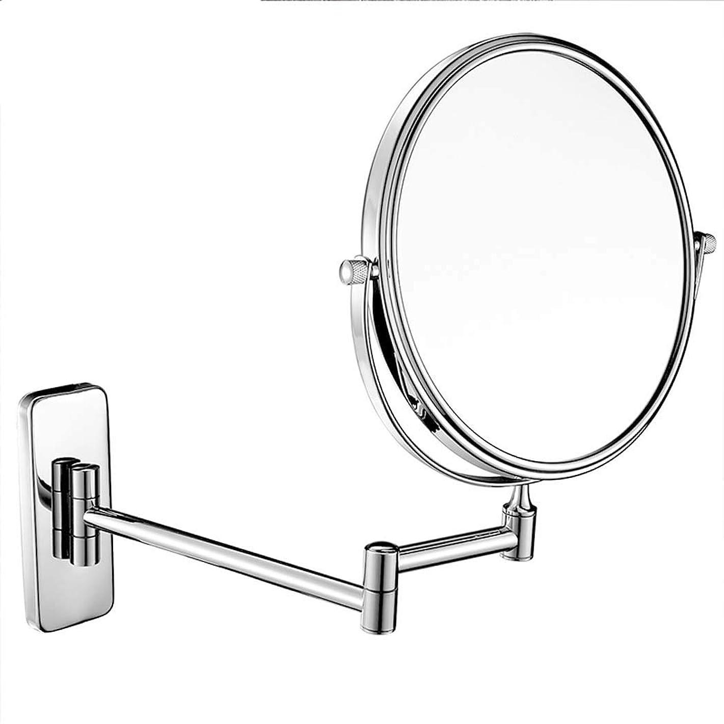 直感銀行生理壁に取り付けられた浴室用ミラー両面化粧鏡3倍/ 5倍/ 7倍/ 10倍拡大虚栄心拡大鏡360°回転、バス、スパ、ホテル用に拡張可能 (色 : クロム, サイズ さいず : 5x-6 inch)