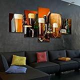 45Tdfc 5 Piezas Cuadro de Lienzo - Amantes de la Cerveza Pintura 5 Impresiones de imágenes Decoración de Pared para el hogar Pinturas y Carteles de Arte HD 200cmx100cm Sin Marco