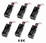 LAMPVPATH 6 Pcs 4 x 1.5V (6V) AA Battery Spring Clip Black Plastic 4 x 1.5V (6V) Battery Case Holder Box Black Red Wire Leads(Two Layers)