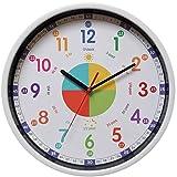 Yudou Kinder Wanduhr Mit lautlosem Uhrenwerk und Farbenfrohem Design - Lernen Wanduhr,Ablesen der...