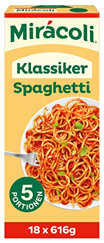 MIRÁCOLI Fertiggerichte Klassiker Spaghetti, 5 Portionen, 18 Packungen (18 x 616g)