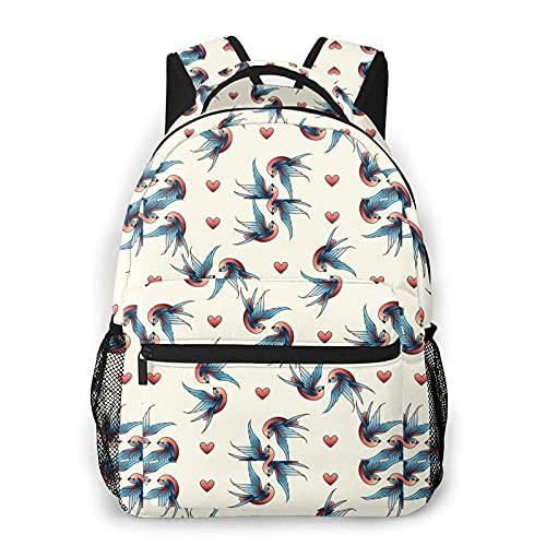 AOOEDM Love Birds Casual Bookbag Mochila para regalo de niñas adolescentes y niños