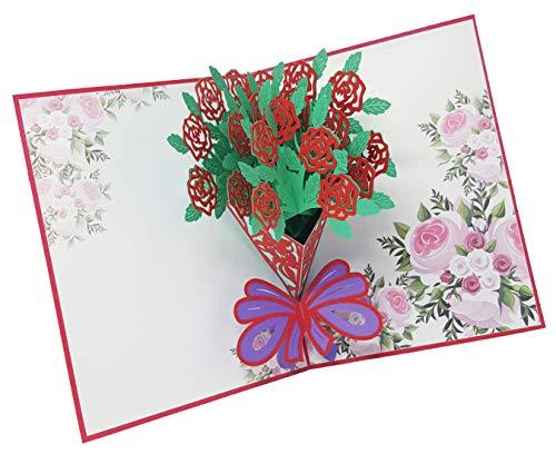 Tarjeta de felicitación roja Rosen3-D Pop-Up, tarjeta de felicitación hecha a mano para saludos del amor, día de la madre, cumpleaños, bodas, invitaciones, etc.
