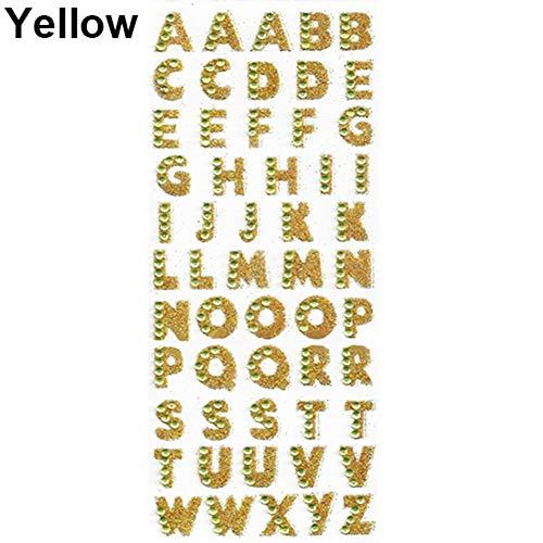 Brüssel08 1 Bogen Selbstklebende Glitzer Alphabet Buchstaben Strass Aufkleber A-Z Wörter Deko Scrapbook Sticker Verzierungen für Kinder Basteln, Grußkarten, Fotoalbum gelb