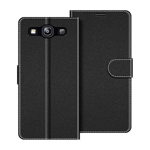 COODIO Handyhülle für Samsung Galaxy S3 Handy Hülle, Samsung Galaxy S3 Hülle Leder Handytasche für Samsung Galaxy S3 / Galaxy S3 Neo Klapphülle Tasche, Schwarz