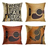 ArtSocket Set of 4 Throw Pillow Covers Guitar Music Speaks Messenger Electric Musician Where Words Fail Spruce Top Acoustic Decorative Pillow Cases Home Decor Square 18x18 Inches Pillowcases