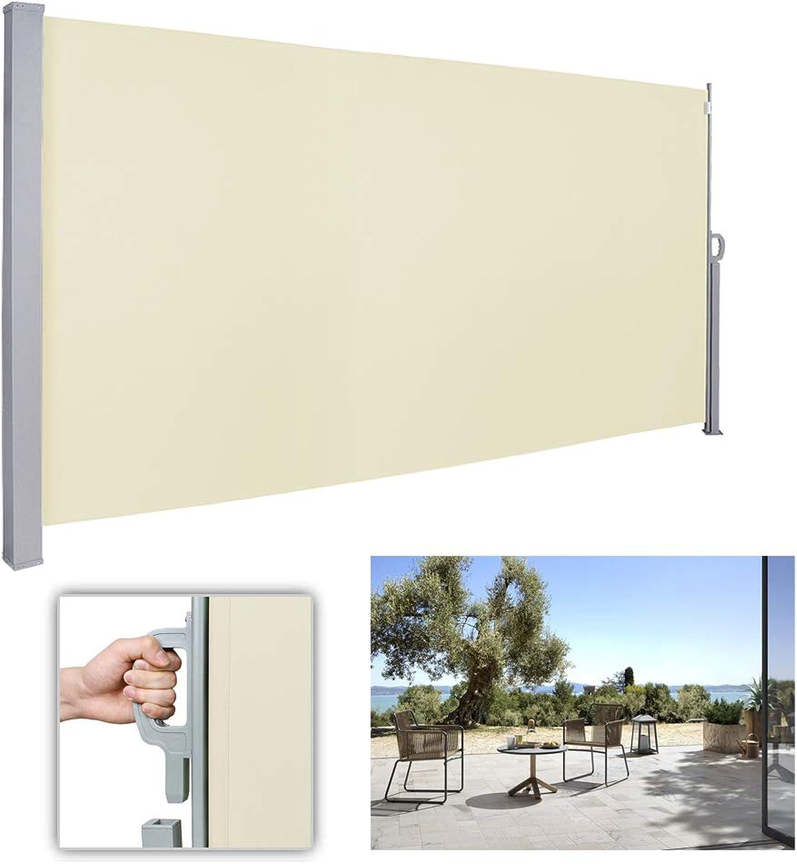 Wolketon Seitenmarkise-180 x 300 cm Beige TüV,geprüft UV,Reifestigkeit,seitlicher Sichtschutz sichtschutz,für Balkon Terrasse ausziehbare markise
