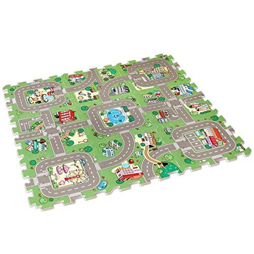 Lalaloom CITYMAT - Alfombra infantil carretera circuito ciudad para juego alfombra puzzle bebe con suelo de espuma EVA para habitación niños 90x90cm